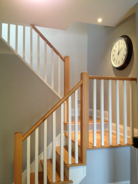 The walls in the staircase (the back wall in this pic) are the last beige walls in the house