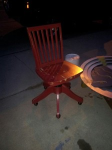 El Granto snapped this pic with his phone of the chair on the curb