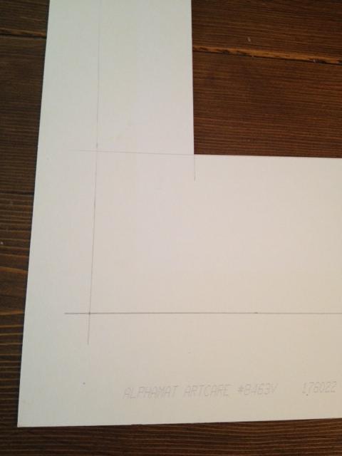 New cut lines drawn on mat