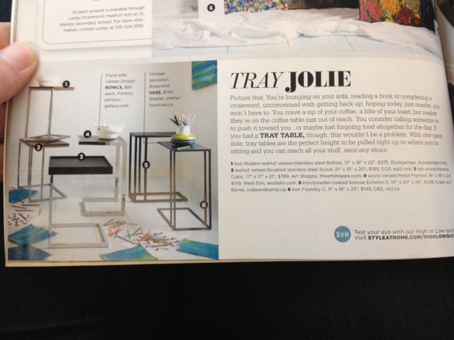 Style at Home Article on similar tables. April 2013 issue