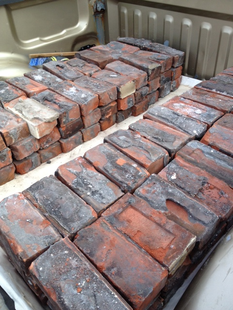 The bricks loaded into the truck