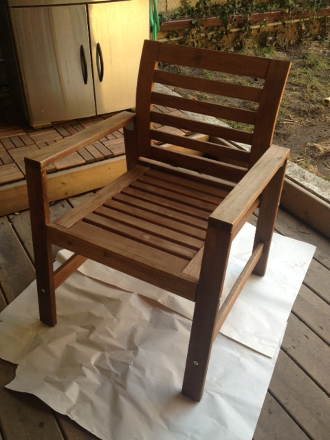 The chair all ready for its oil treatment