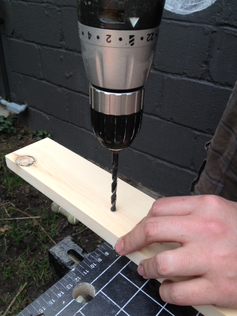 Drilling the cabinet hardware holes