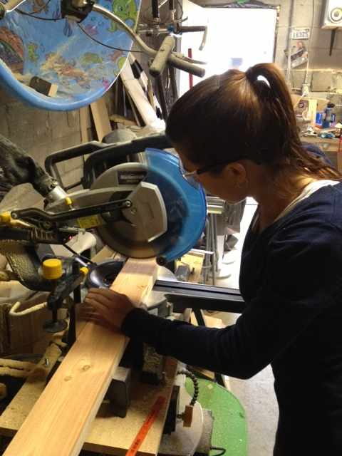 Adelle cutting the legs & support pieces