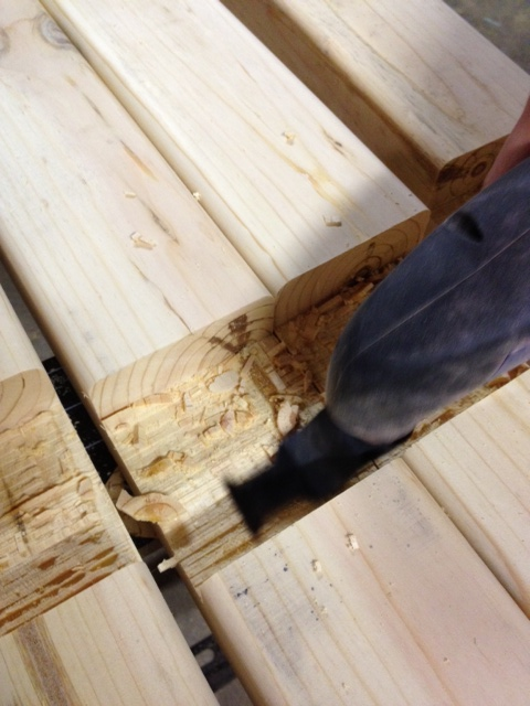 Cleaning up the kerf cuts with an oscillating multi-tool