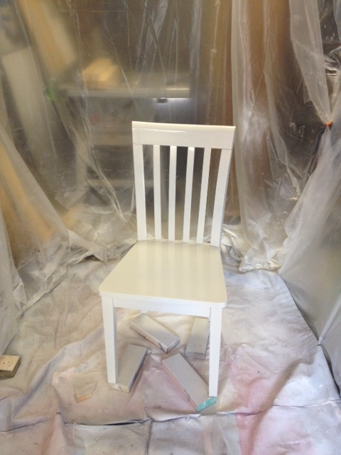 Chair in the paint booth