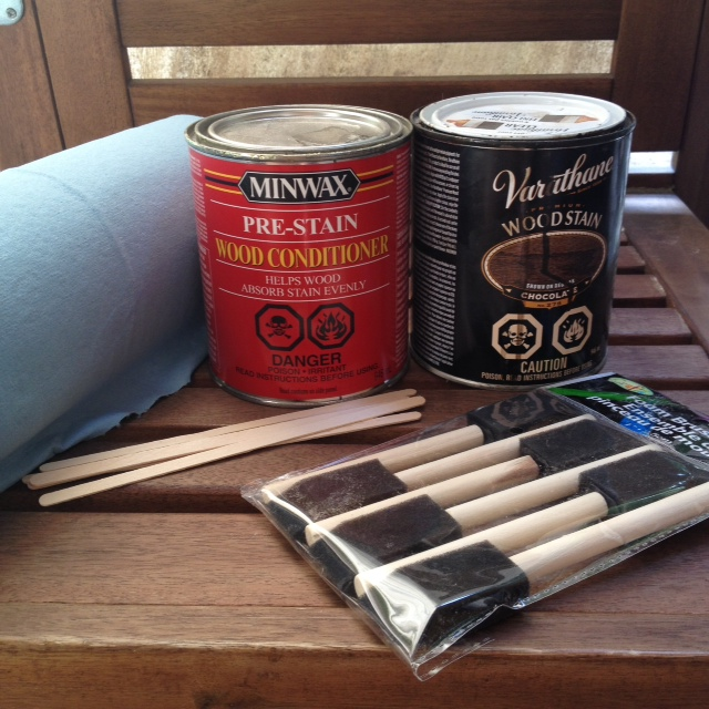 Staining Tools: Stir sticks, foam brushes, wood conditioner, stain & shop towel.