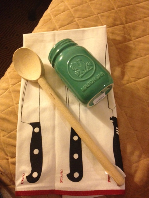 My New York Purchases - Ceramic Mason Jar & Tea Towel from Fishs Eddy & a wooden spoon from ABC Kitchen