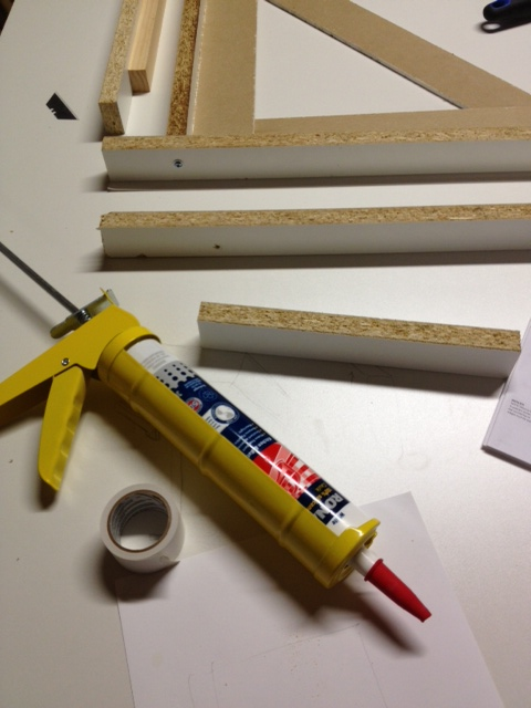 "Form Supplies: 1 1/2"" strips of meamine, double sided tape, silicone caulk"