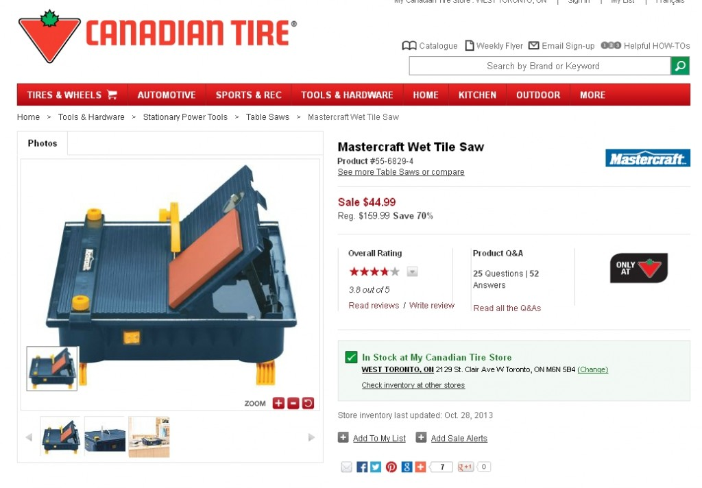 Mastercraft Wet Tile Saw