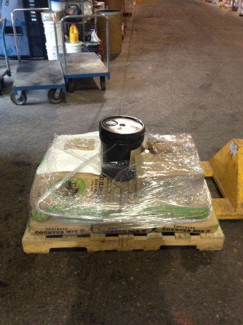 The pallet full of our supplies at Form & Build