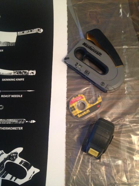 Print, staple gun, tape measure & double sided tape