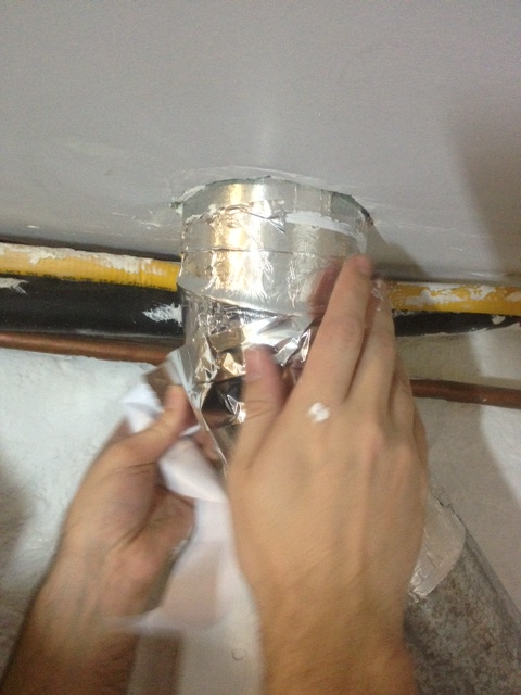 Taping seams in the dryer duct-work with duct tape.