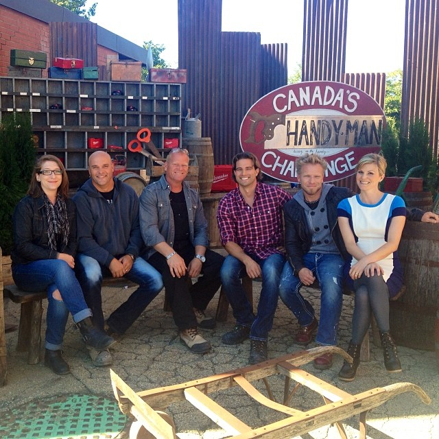 Kristen on the set of Canada's Handyman Challenge with Bryan Baeumler, Mike Holmes, Scott McGillvary, Paul LeFrance & host Jenn Robertson.