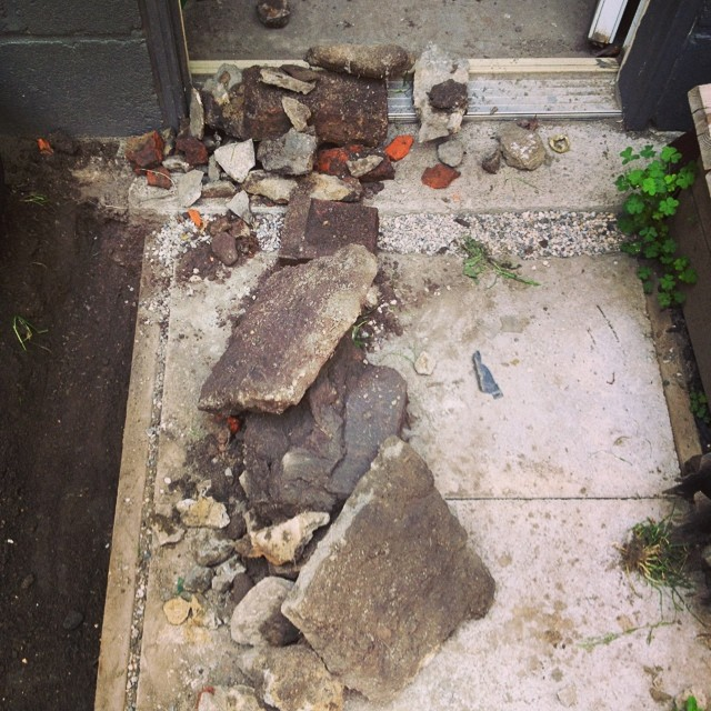 Bricks, concrete, random rubble.