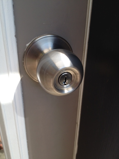 New replacement door knob. All shiny and new