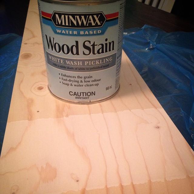 White Wash Pickling Stain On Pine: Basement Flooring