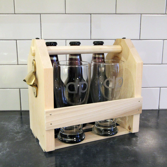 Wood Beer Carrier & Monogrammed Pint Glasses