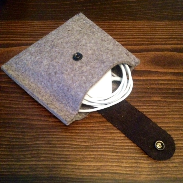 Felt and Leather cord pouch