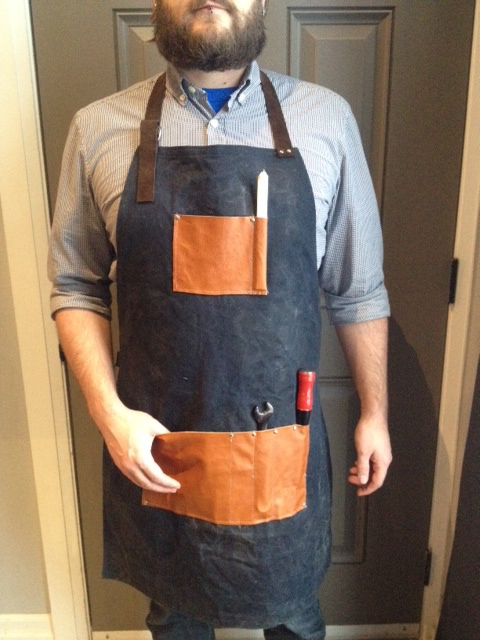 DIY Mens Leather and Waxed Canvas Apron