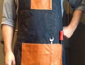 Waxed Cotton & Leather Mens Apron
