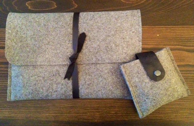 Felt and Leather laptop sleeve and cord pouch